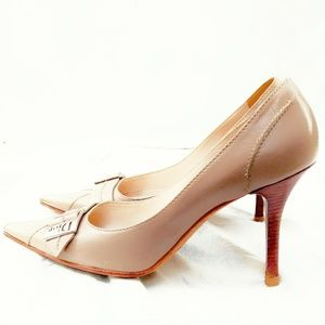 Dior Logo Pointed Nude High Heels-Size 8